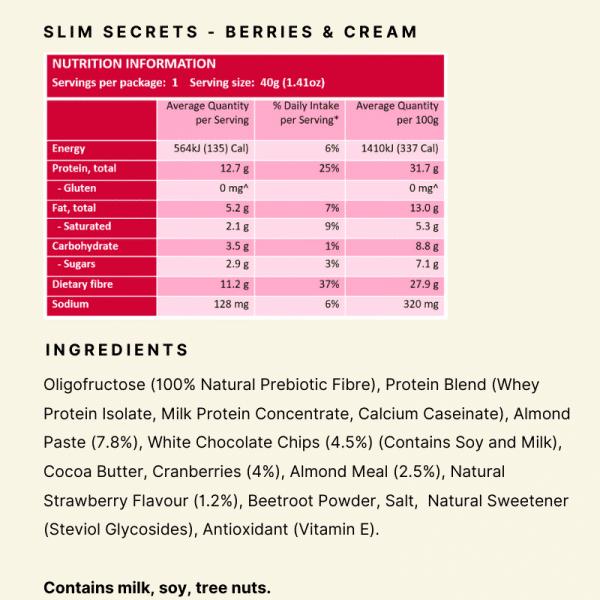 Nutritional Panel - Slim Secrets Bare Bar Berries & Cream
