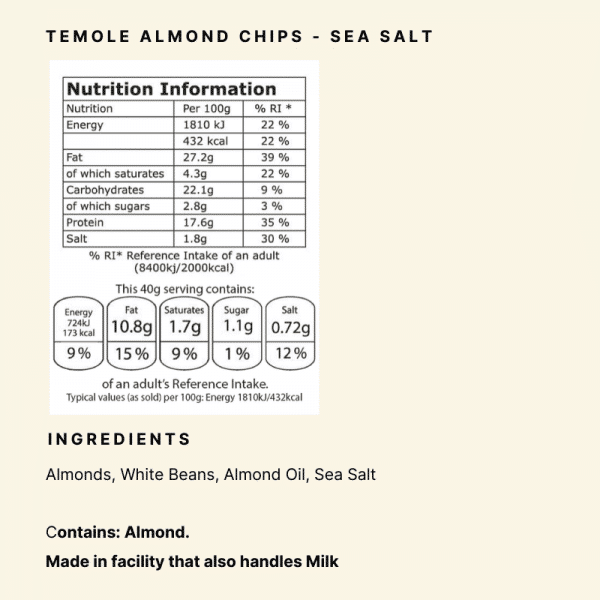 Nutrional Panel - Temole Almond Chips Sea Salt