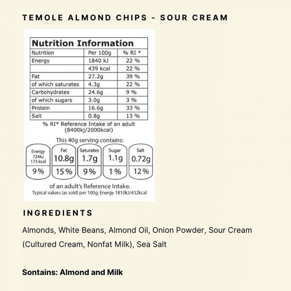 Nutrional Panel - Temole Almond Chips Sour Cream