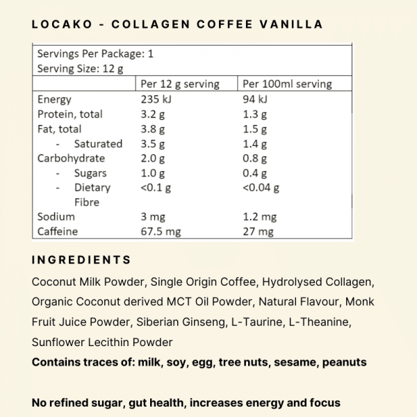Nutritional Panel - Locako Cllagen Coffee Vanilla