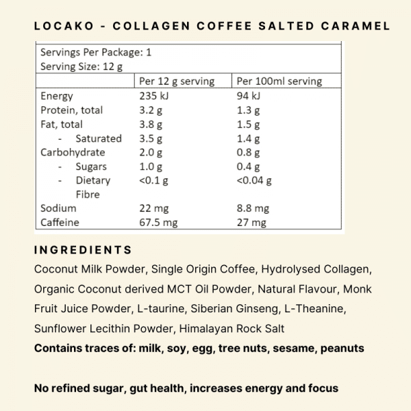 Nutritional Panel - Locako Collagen Coffee Salted Caramel