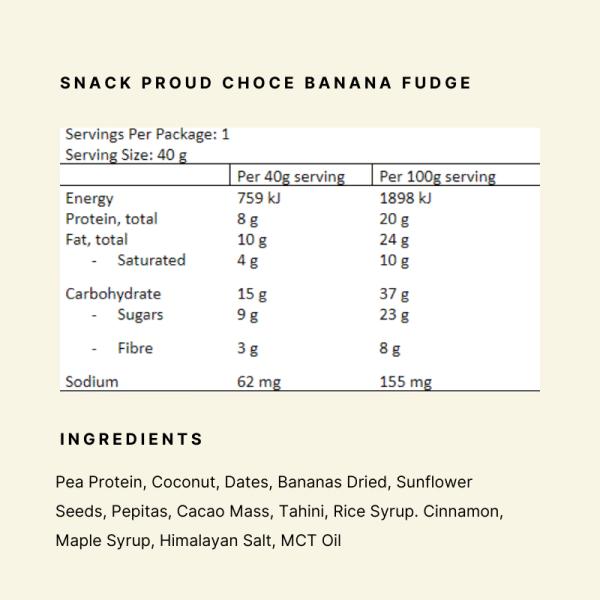 Nutritional Panel - Snack Proud Choc Banana Fudge